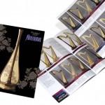 青山ハープダイジェスト版パンフレットの表紙と巻き四つ折(ジャバラ形式)の開いた写真。ハープの全種類が掲載。