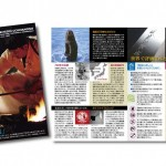 加茂刃物製作所会社案内パンフレットの表紙と中面見開きの写真。