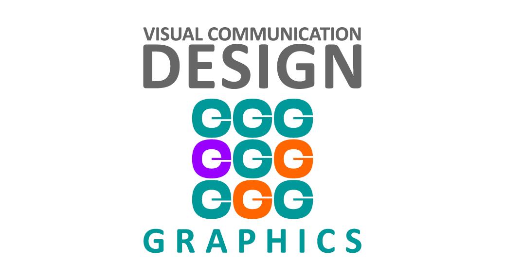 Visual Communication Design Graphicsの文字を組んだ形、中央に色違いのドーナツが縦横にそれぞれ3個全部で9個格子状に並んでいる。