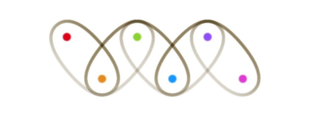 繭玉の輪郭線が絡んでジグザグに整列。そこにはハートの形が出来上がる。繭玉にそれぞれ色目玉がついている。赤橙黄緑青藍紫